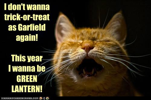 caption,captioned,cat,costume,do not want,garfield,Green lantern,meowloween,tabby,trick or treat,upset