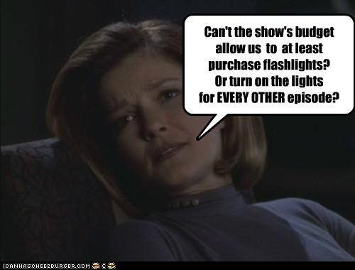 budget,captain janeway,flashlights,kate mulgrew,Star Trek,voyager