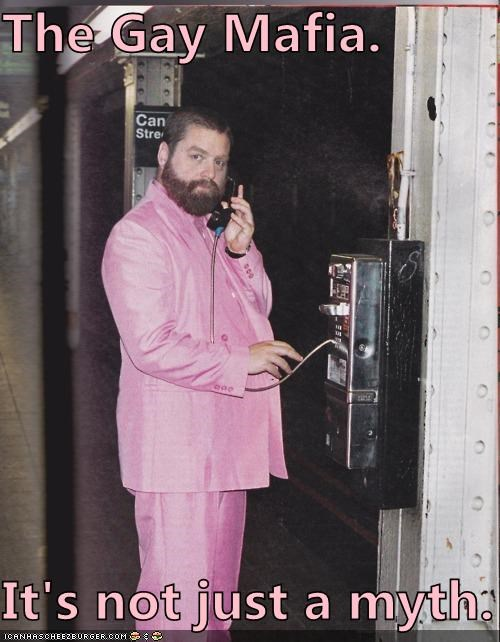 gay,gay mafia,Hall of Fame,myths,pink,suits,Zach Galifianakis