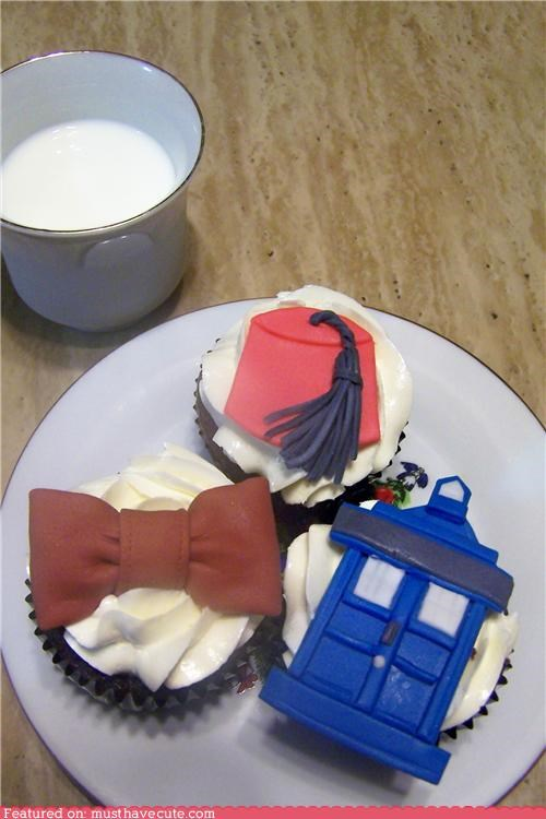 bowtie,cupcakes,doctor who,eleventh doctor,epicute,FEZ,fondant,tardis