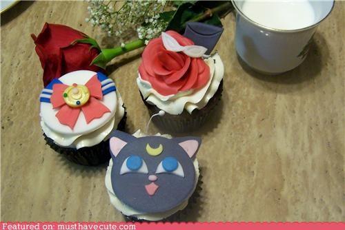 cat,cupcakes,epicute,fondant,rose,sailor moon