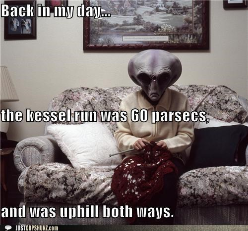 alien,alien gramma,alien grandma,caption contest,kessel run,knit,Knitta Please,knitting,space travel