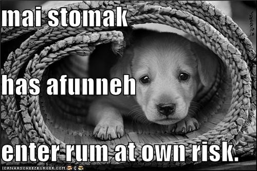 mai stomak has afunneh enter rum at own risk.