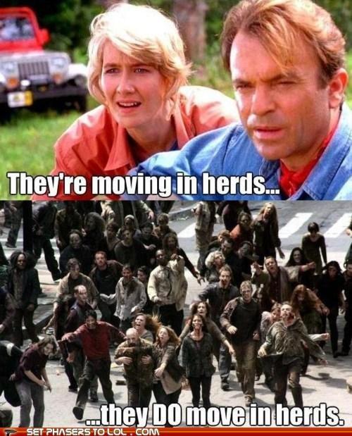 herd,jurassic park,laura dern,sam neill,The Walking Dead,zombie