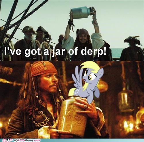 best of week,crossover,derpy hooves,got it,jar of derp,Johnny Depp,pirates of the