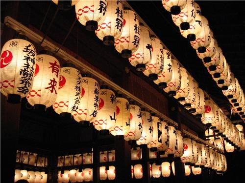 Lanterns at Gion Temple, Kyoto, Japan