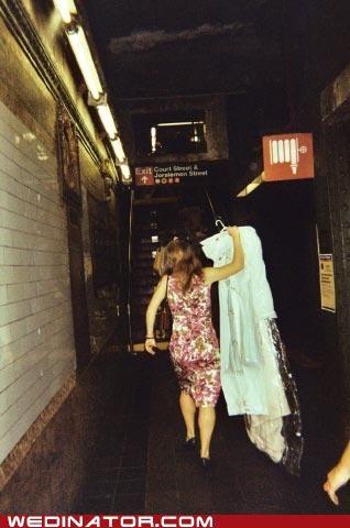 bride,funny wedding photos,hipsters,Subway,wedding dress