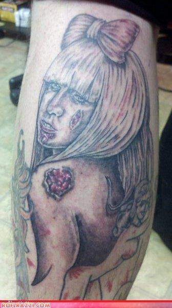 celeb,FAIL,funny,lady gaga,Music,tattoo,zombie