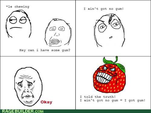 double negative,gum,Rage Comics,strawberry guy