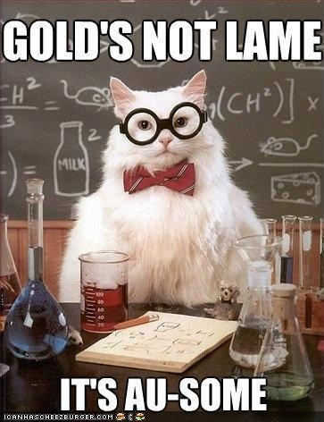 awesome,chemistry cat,elements,gold,lame,memecats,Memes,puns
