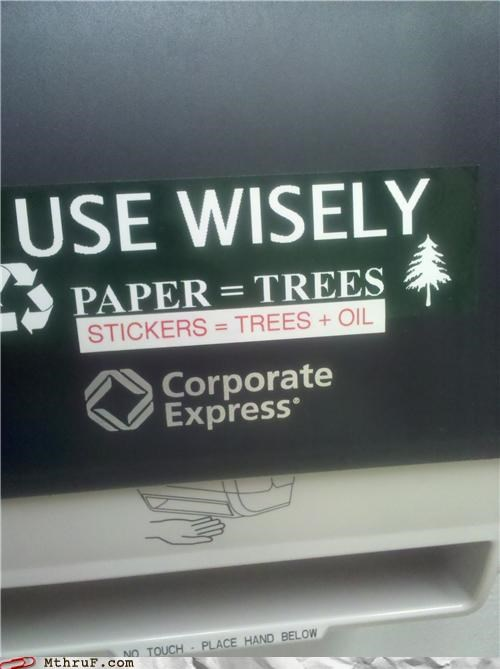 paper towels,recycle,response,sign,sticker