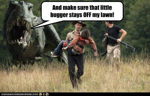 Andrew Lincoln,dinosaurs,lawn,Rick Grimes,The Walking Dead