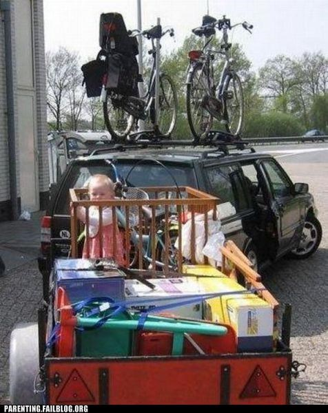 baby,car,crib,dangerous,moving,packing,Parenting Fail,tow