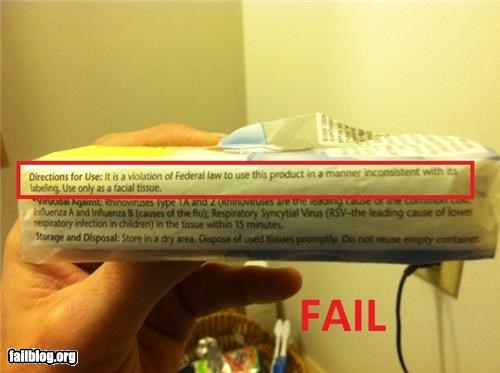 Tissue Warning FAIL