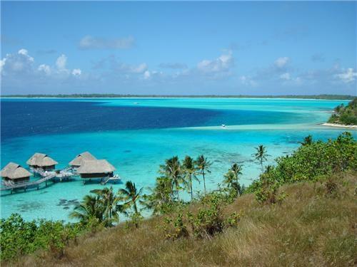 blue,blue water,bora bora,clouds,destination of the week,first class ticket,french polynesia,getaways,horizon,ocean,palm trees,peaceful