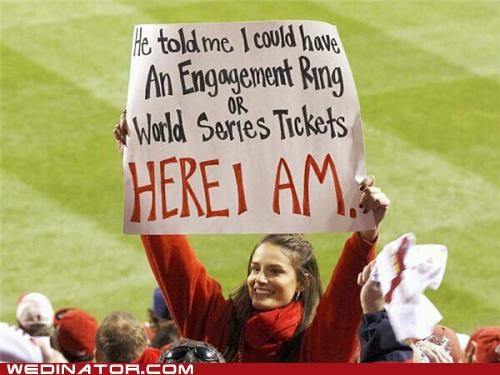 baseball,engagement,funny wedding photos,sports,World Series