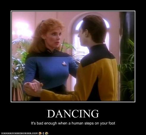 android,brent spiner,dancing,data,human,Star Trek,stepping on things