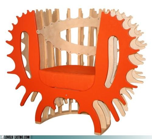 chair,particle board,red,spiny,wood