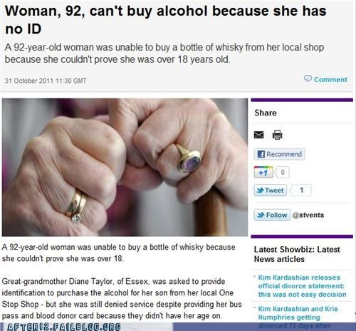 booze news,carded,elderly,id,liquor store,old people,whiskey