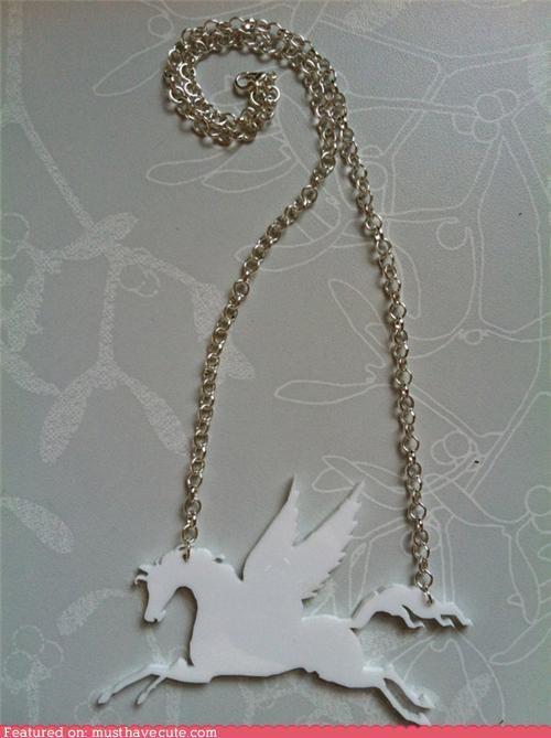 acrylic,chain,Jewelry,necklace,pegasus,pendant