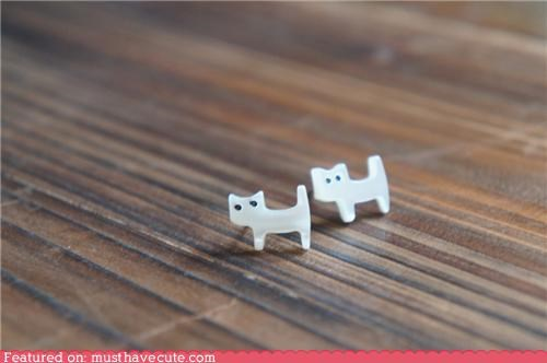 accessories,Cats,earrings,Jewelry,kitties,studs,white