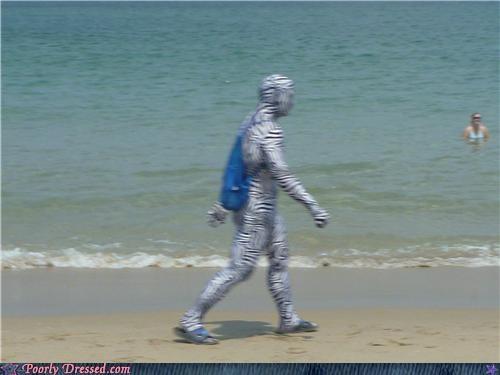 beach,body suit,stripes,zebra man