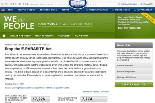 E-Parasite Act Petition of the Day