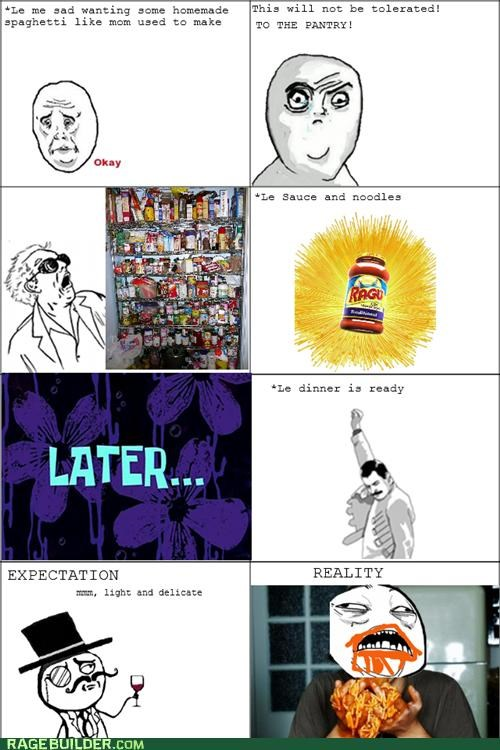 dinner,expectations vs reality,Rage Comics,spaghetti