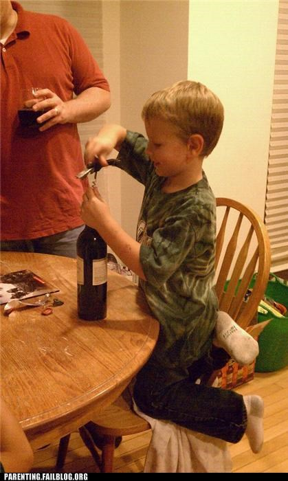 alcohol,drinking,kid,liberal arts,Parenting Fail,philosophy,wine,wine opener