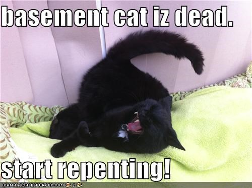 basement cat iz dead.  start repenting!
