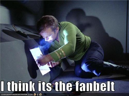 Captain Kirk,fanbelt,repair,Shatnerday,Star Trek,William Shatner