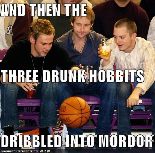 AND THEN THE THREE DRUNK HOBBITS DRIBBLED INTO MORDOR