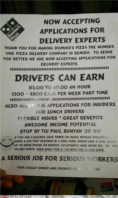 dominos-pizza,help wanted,job,job offer,passive aggressive,pizza delivery