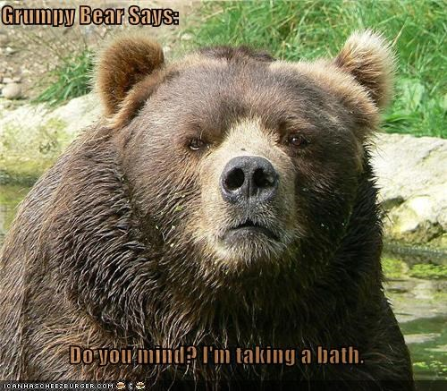 Grumpy Bear Says:  Do you mind? I'm taking a bath.