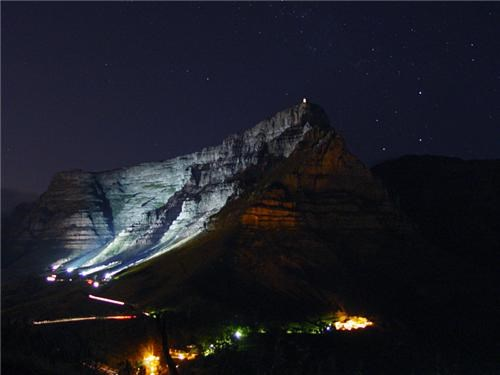 Table Mountain with the Southern Cross to the Right, Cape Town, South Africa