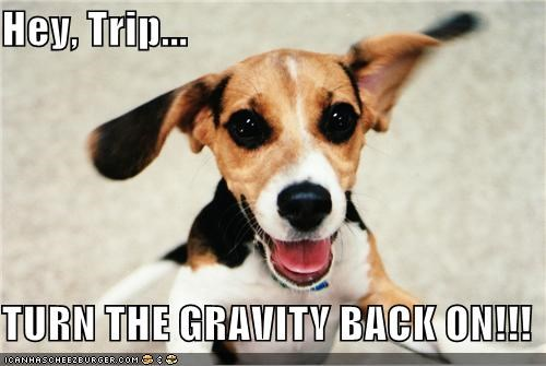 Hey, Trip...  TURN THE GRAVITY BACK ON!!!