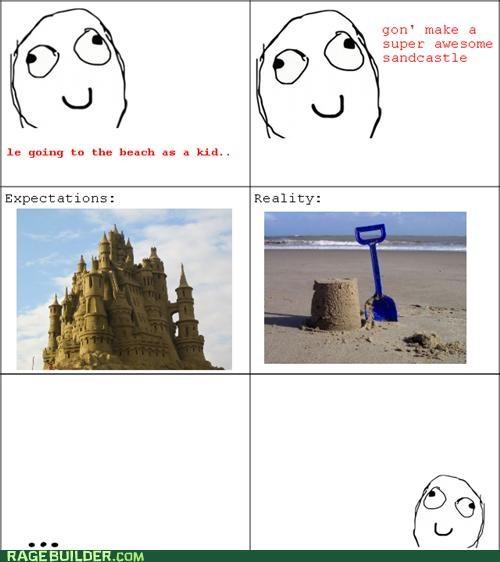expectations,kid,Rage Comics,sand castle