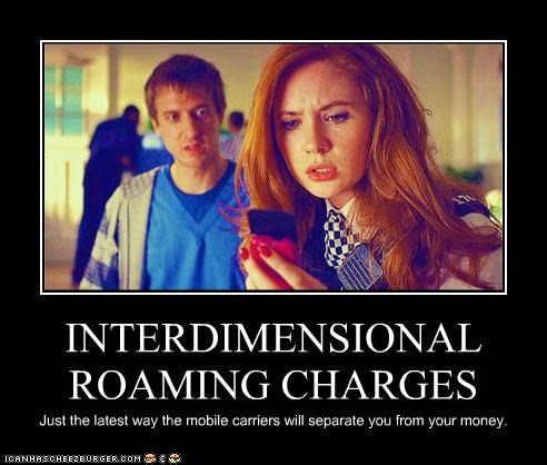 amy pond,arthur darvill,company,doctor who,karen gillan,mobile phone,money,roaming charges,rory williams