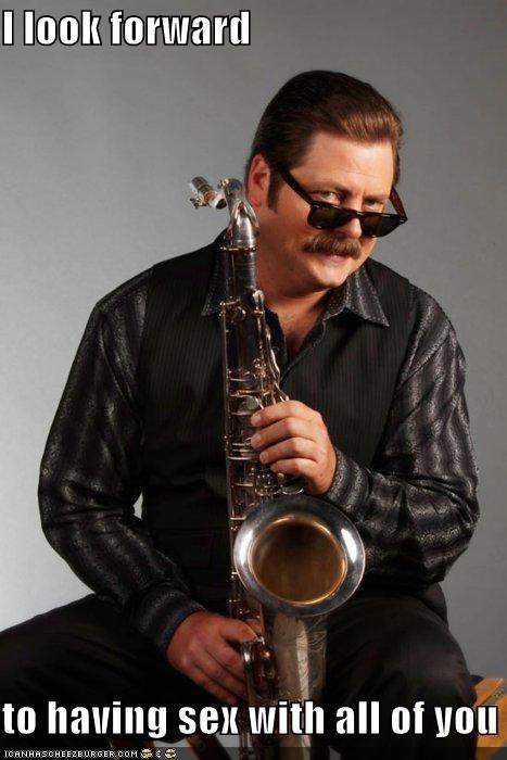 instruments,Nick Offerman,ron swanson,saxophone,sex,sexy