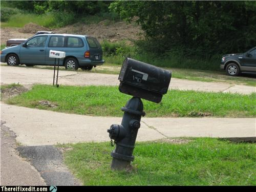 holding it up,mailbox,package,Shaky Support Systems