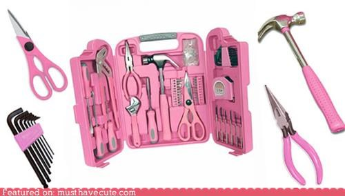 girly,kit,pink,set,tools