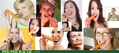 Women who enjoy carrots in their mouth - way better than women laughing at salad.