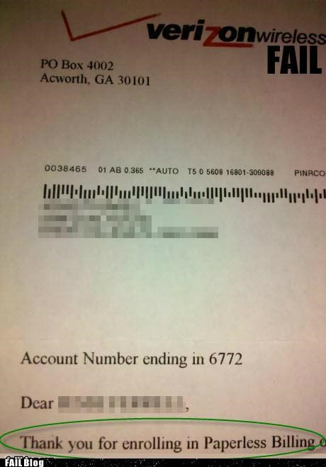 Paperless Billing FAIL