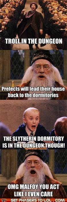 draco malfoy,dumbledore,Harry Potter,richard harris,slytherin,tom felton,troll