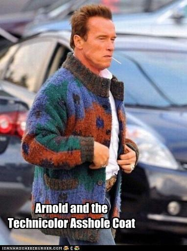 ahole,Arnold Schwarzenegger,coats,fashion,joseph and the amazing technicolor dream coat,technicolor,ugly