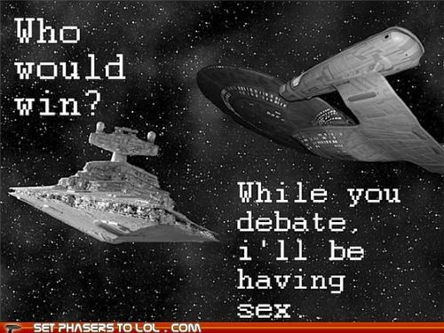 debate,enterprise,sex,star destroyer,Star Trek,star wars,who would win