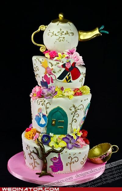 alice in wonderland,cake,cakes,disney,funny wedding photos,Hall of Fame,wedding cake