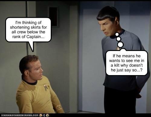 Captain Kirk,kilt,Leonard Nimoy,Shatnerday,skirt,Spock,Star Trek,William Shatner