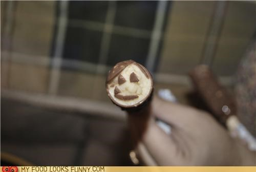 bar,chocolate,coating,face,ice cream,stick