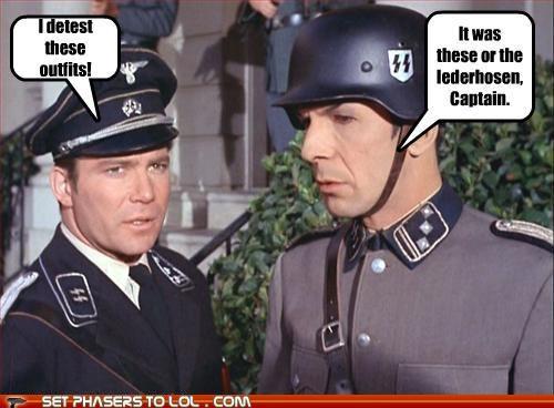 Captain Kirk,lederhosen,Leonard Nimoy,Shatnerday,Spock,Star Trek,uniforms,William Shatner
